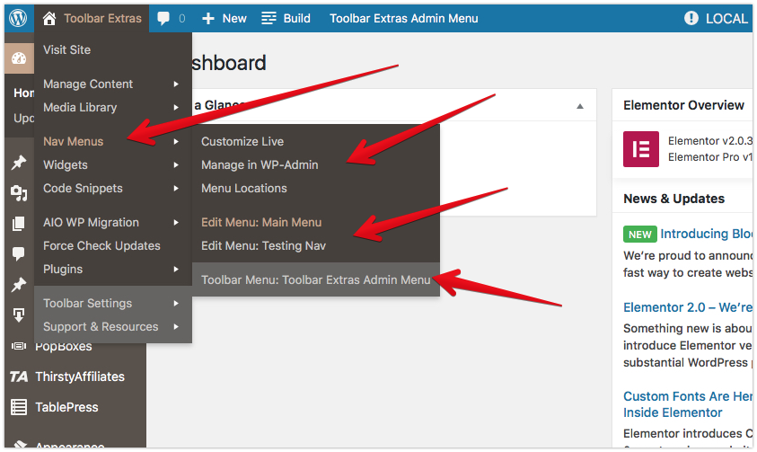"<p>Toolbar Extras - Nav Menus - jump to admin/ Customizer pages - edit existing menus, including the optional ""Toolbar Admin Menu""</p>"