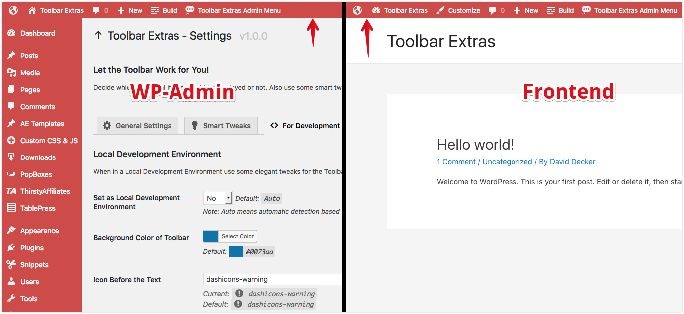 <p>Toolbar Extras - smart tweak: use the same color scheme for Toolbar on the frontend as in the WP-Admin</p>