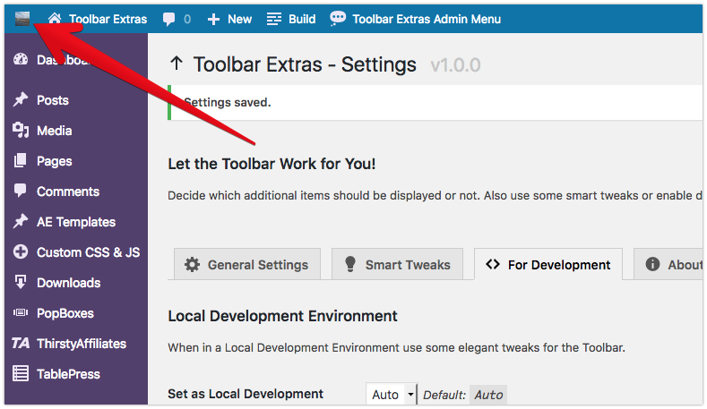 """Toolbar Extras - the """"World"""" Group with site icon (if set in the Customizer)"""