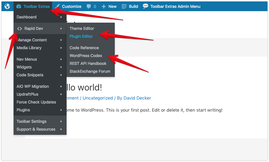 "<p>Toolbar Extras - optional ""Dev Mode"" - links for developers, including the Code Editors</p>"