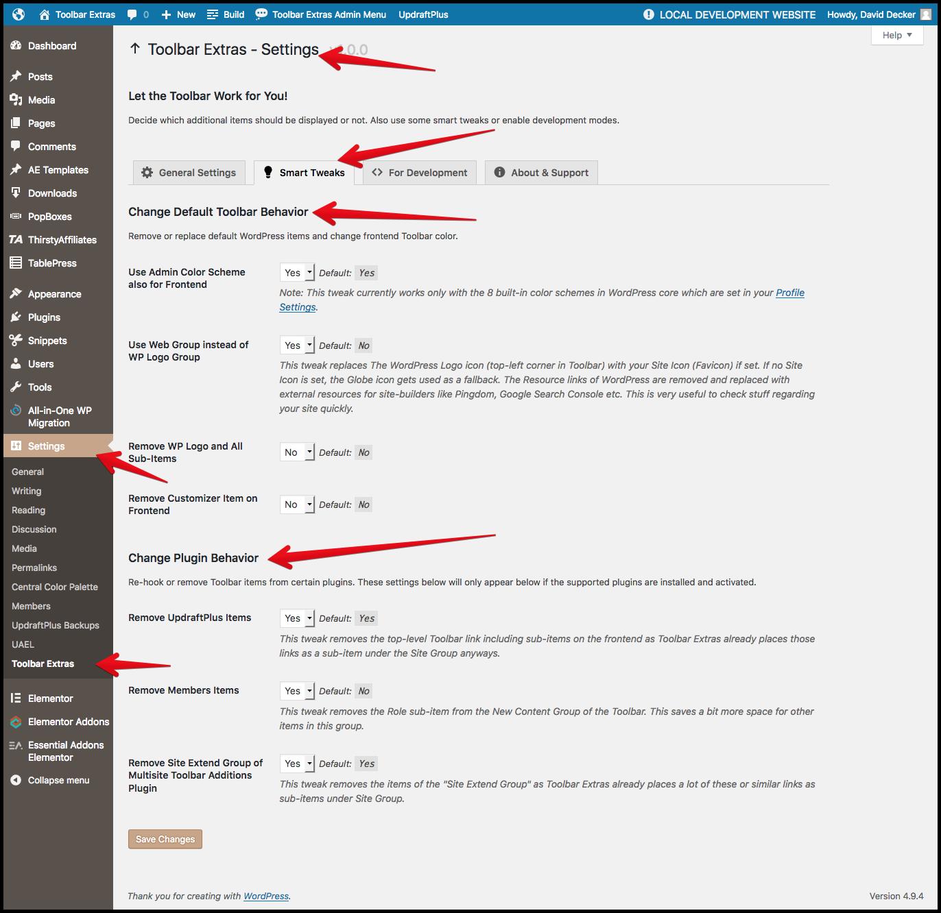 """Toolbar Extras - plugin's settings page (under """"Settings"""") - tab """"Smart Tweaks"""" - change Toolbar behavior of WordPress, plus a few third-party plugins"""