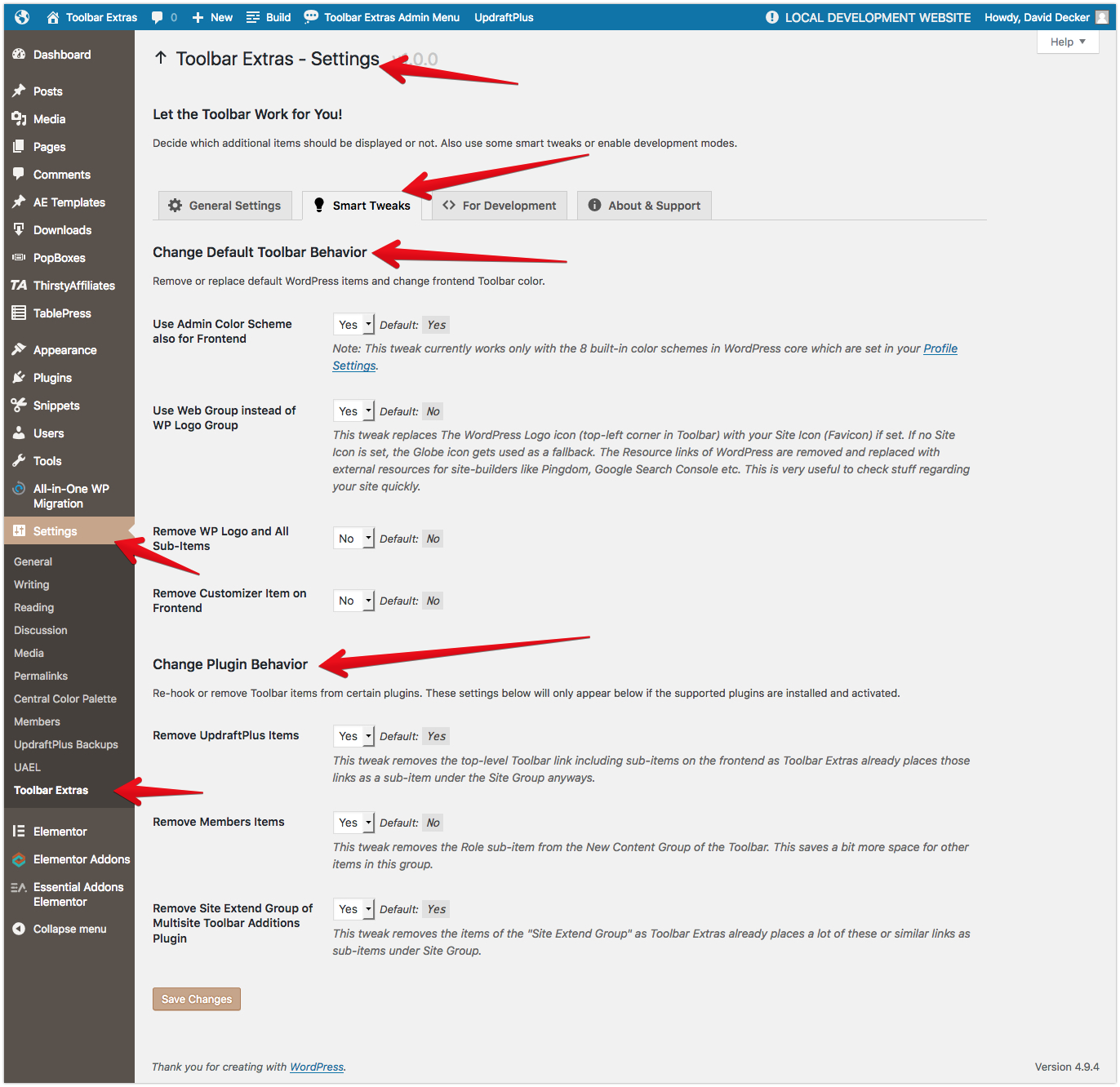 "<p>Toolbar Extras - plugin's settings page (under ""Settings"") - tab ""Smart Tweaks"" - change Toolbar behavior of WordPress, plus a few third-party plugins</p>"