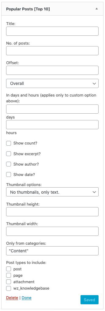 Top 10 widget options