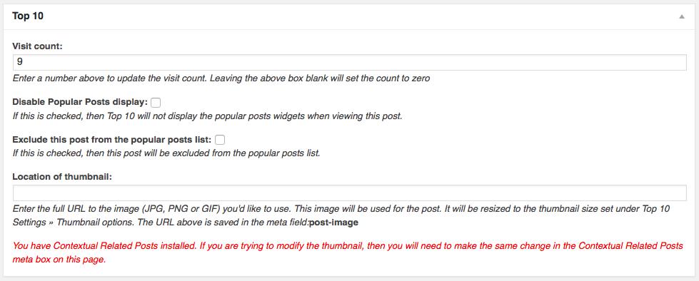 Top 10 Meta box on the Edit Post screen