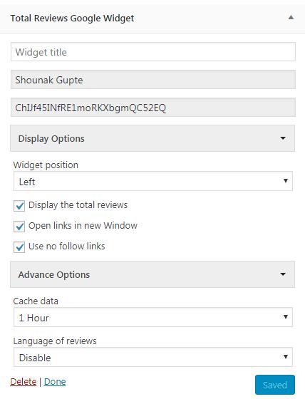 Google Places Reviews Widget Settings.