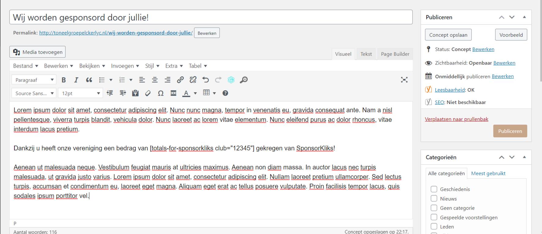 Het gebruik van de shortcode in een bericht of pagina