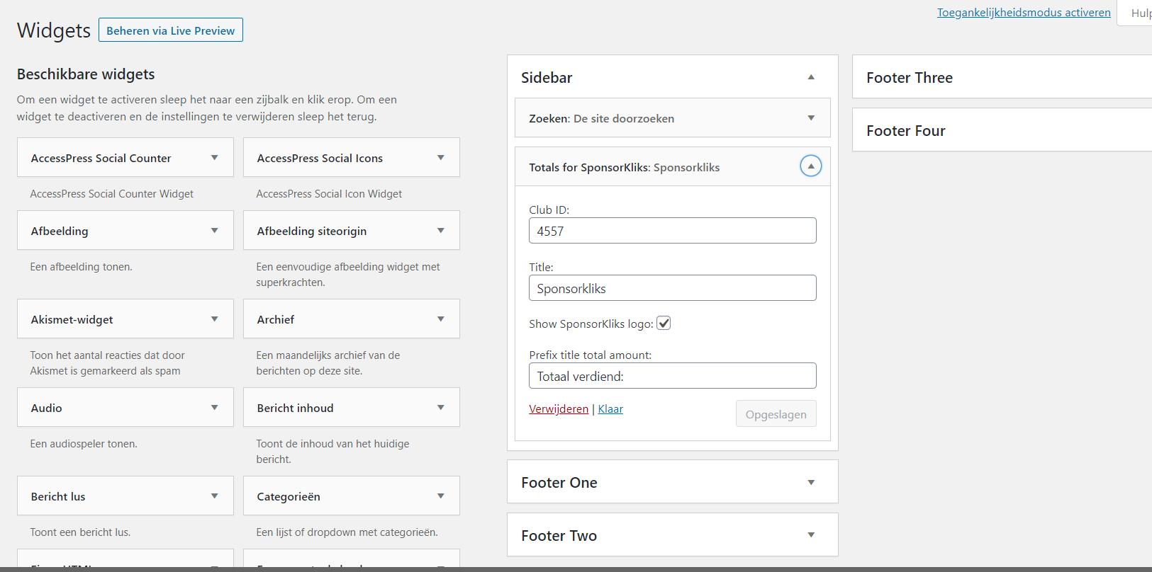 De widget, die kan worden toegevoegd aan sidebar of footer