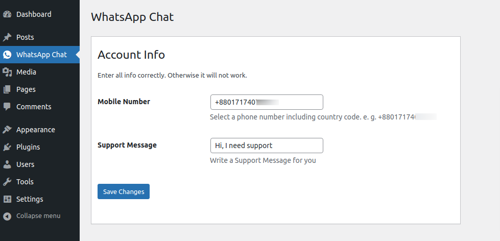 WhatsApp Chat Configuration