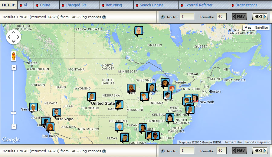 <p>Zoomable visitor map shows all visitors available in the real-time log. By clicking on each visitor icon, a new report is generated with detailed visitor activity, page view times, physical location and other information.</p>