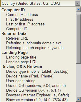 <p>Some of the Page and Link Tracker rules can be triggered based on a variety of visitor data such as visitor Current IP address, First IP address, Last or First IP address, Computer ID, Referrer URL, Referring subdomain, Referring search engine keywords, Landing page title, Landing page URL, Device types such as mobile, tablet and desktop, Device names such as iPad, iPhone, User agent strings, Device OS, Device OS version, Browsers and other options.</p>