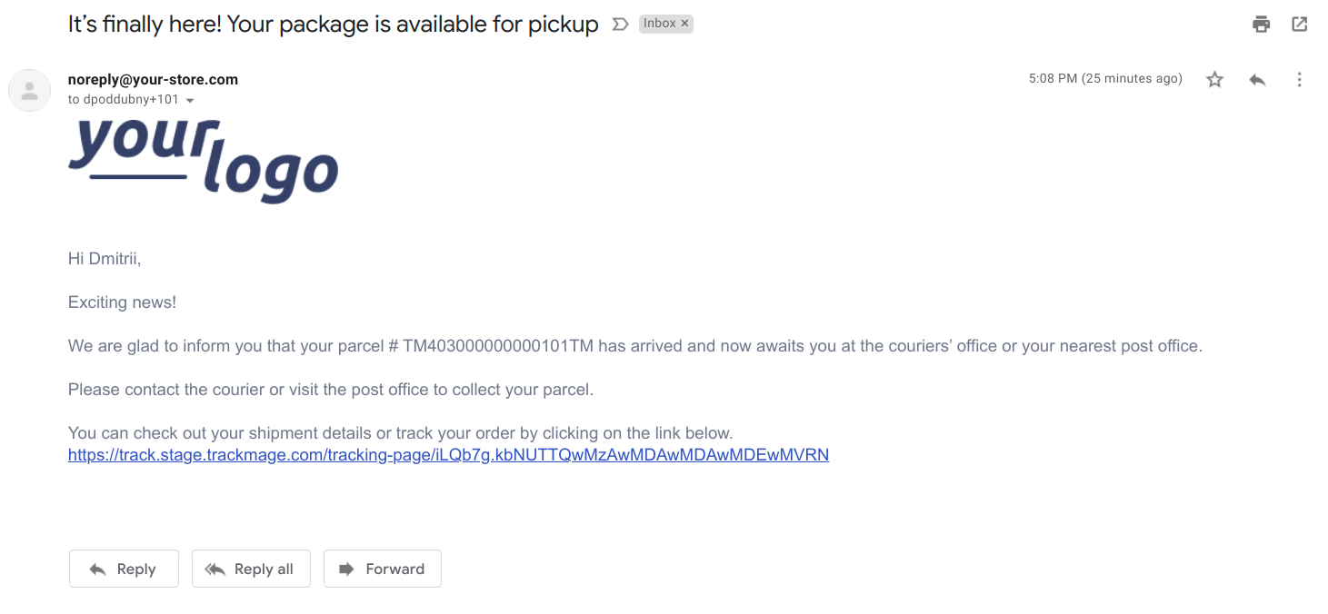 Setup email notification when parcel is available for pickup