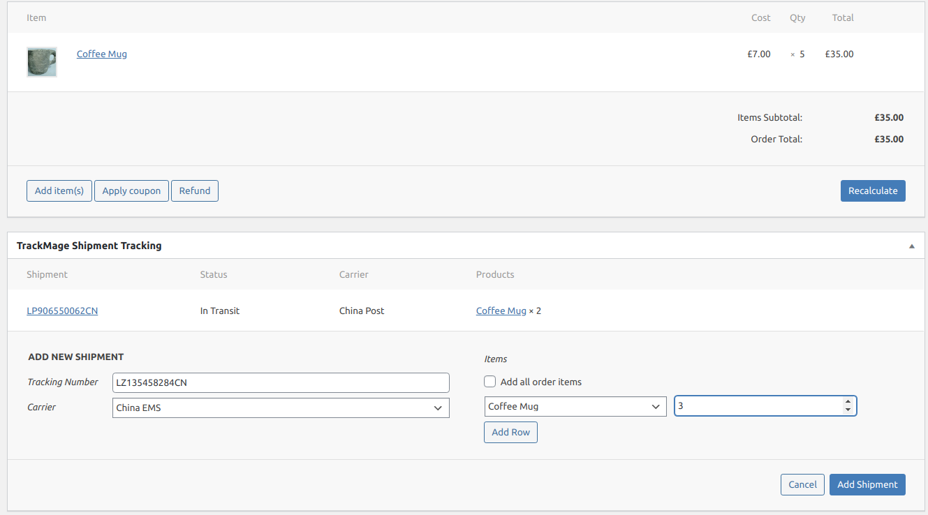 Create shipments from Woocommerce order
