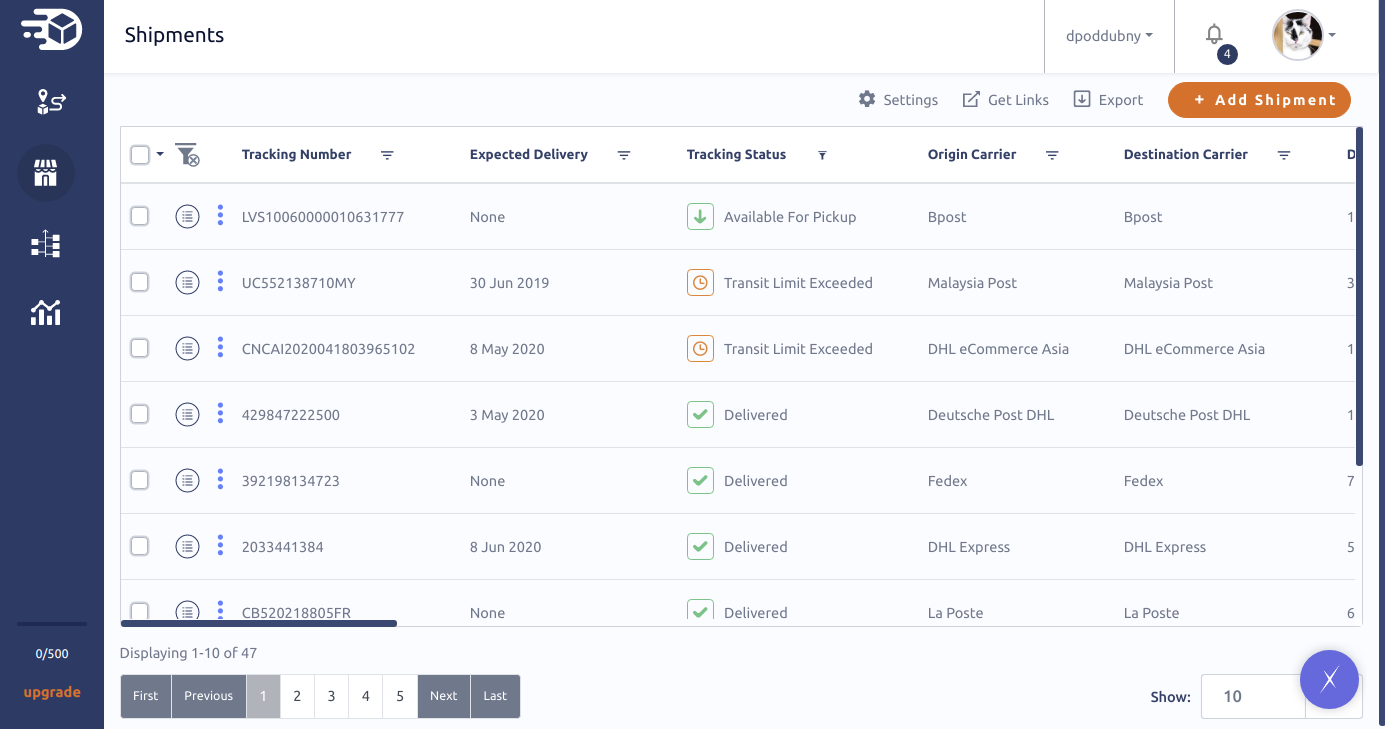 Manage your all shipments in TrackMage