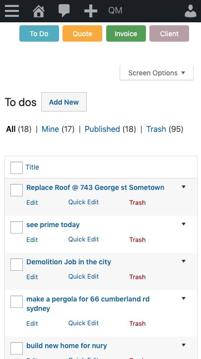 To do in list view on the mobile.