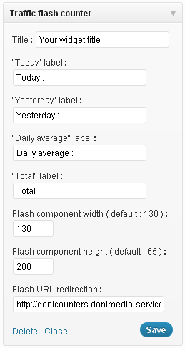 Traffic flash counter widget admin panel .