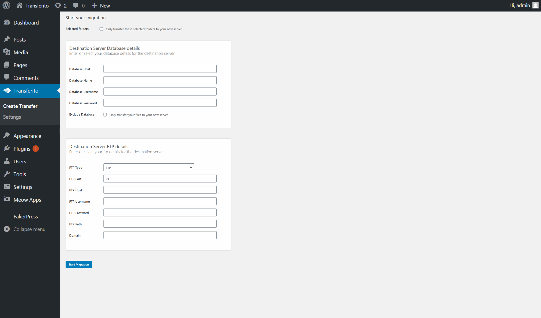 Start a manual migration directly from the WordPress dashboard