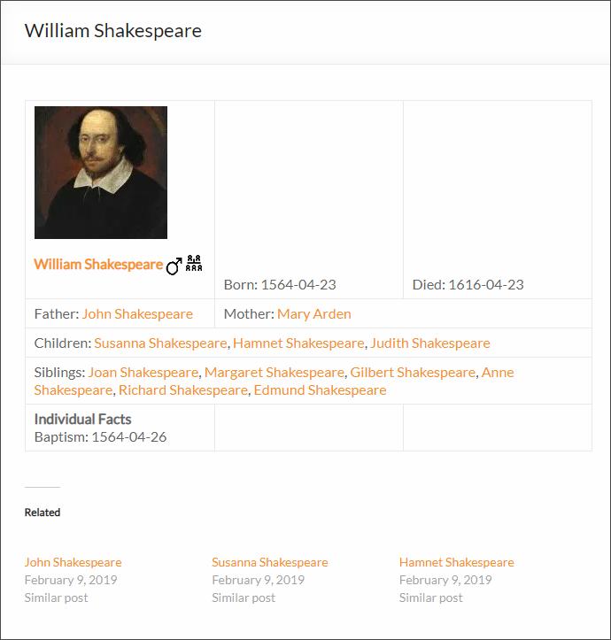 Sample Ancestor profile