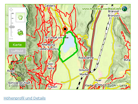 Karte Ausschnitt Suedtiroler Unterland mit Trekking-Tour rund um den Kalterer See