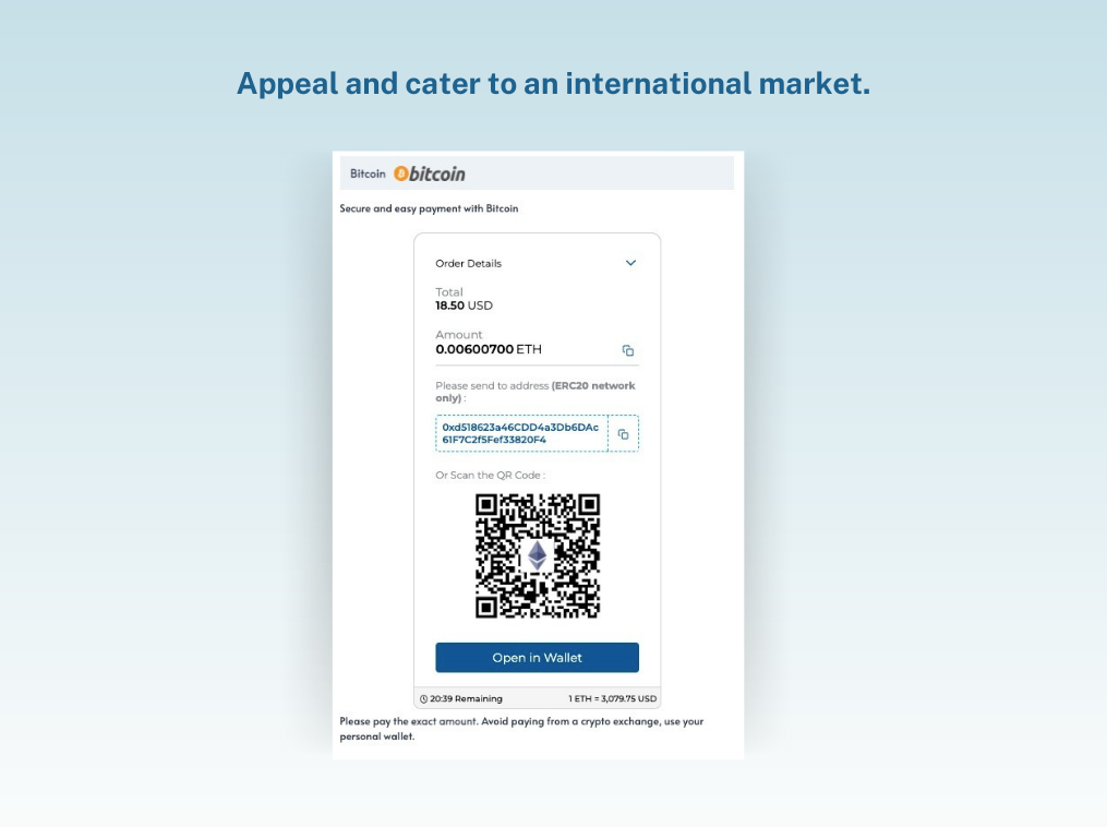 Appeal and cater to an international audience - Bitcoin Payment Gateway by TripleA