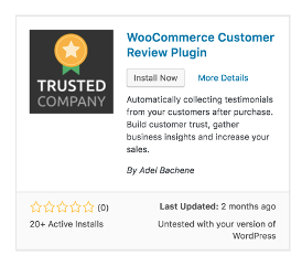<p>Scroll to the TrustedCompany WooCommerce Customer Review Plugin, and click Install:</p>