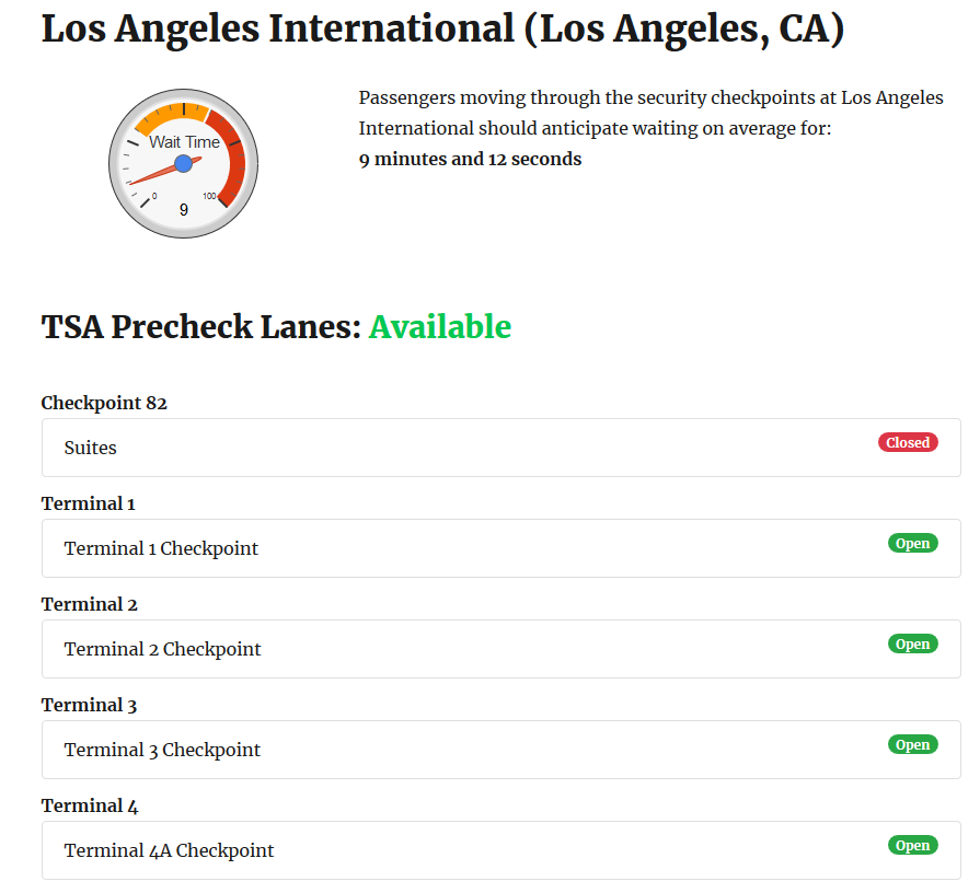 Sample output for current wait times at LAX