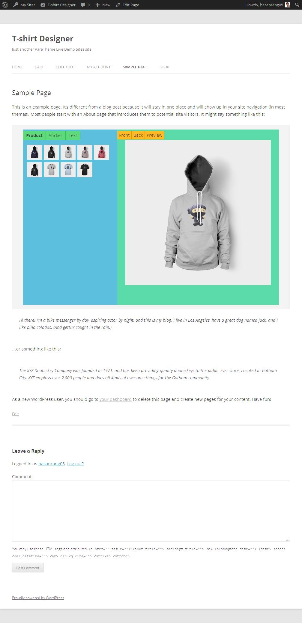 Shirt design wordpress plugin - Screenshots