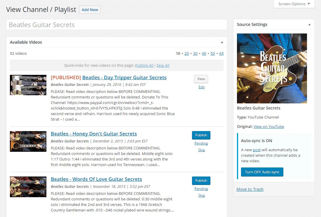 TUBE Video Curator – WordPress plugin | WordPress org