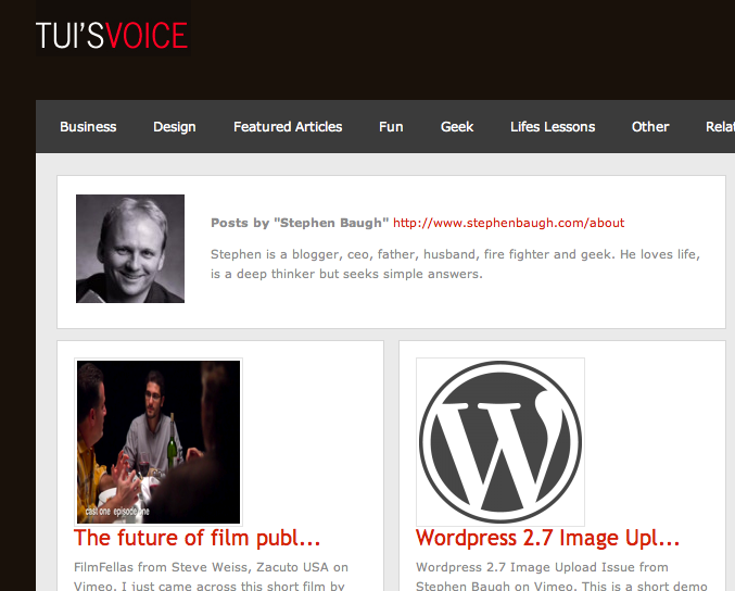 Sample of a theme with an intro on the archive page.