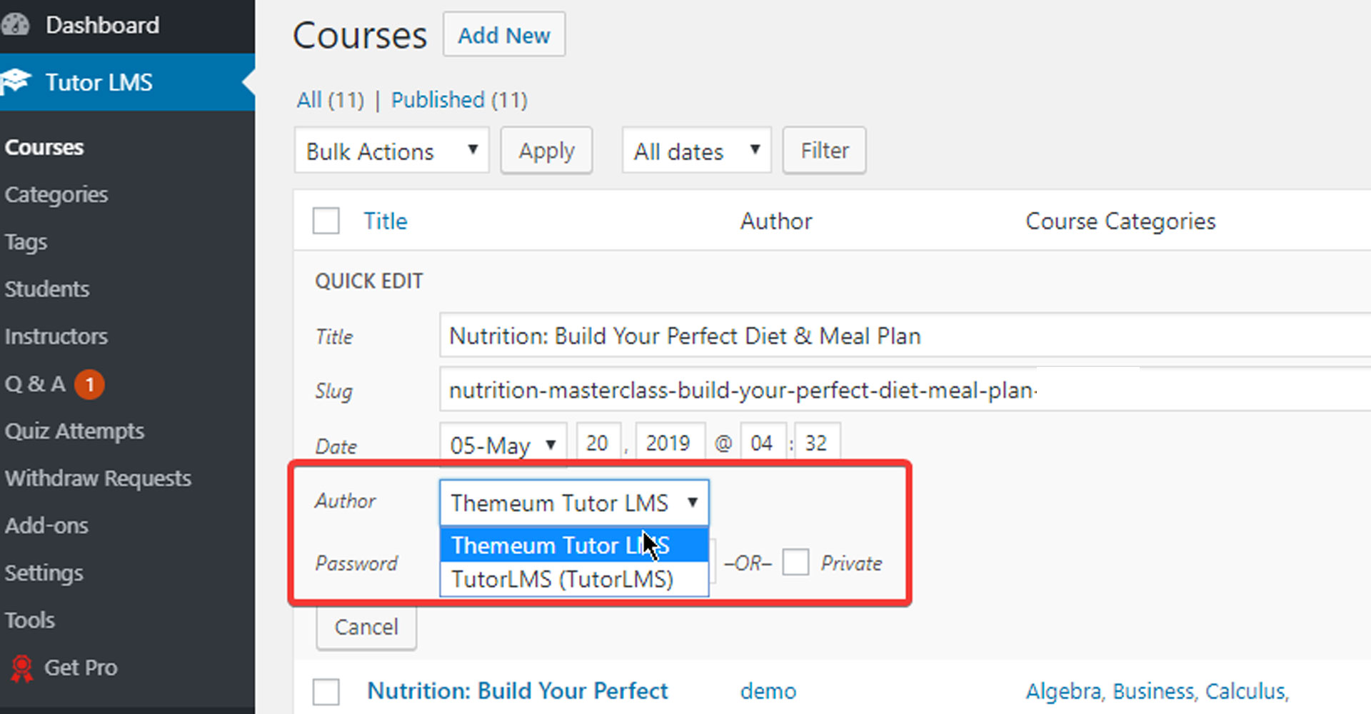 How to change Tutor LMS author from Courses.