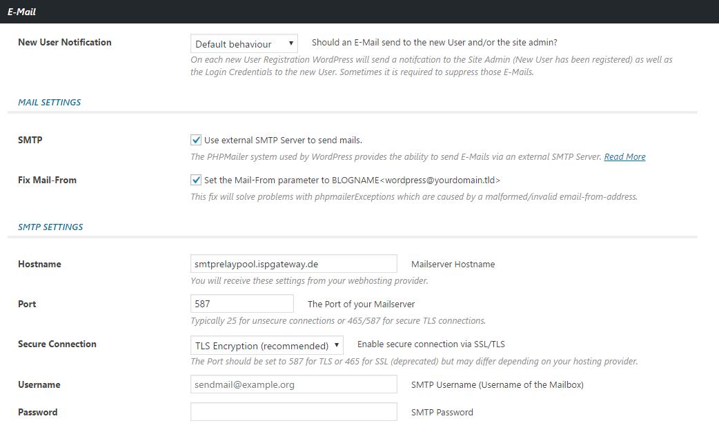 E-Mail SMTP Settings