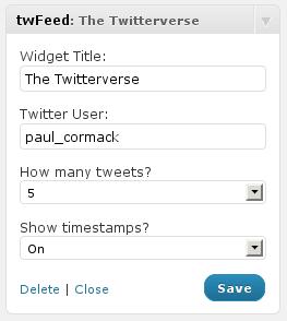 Admin widget screenshot