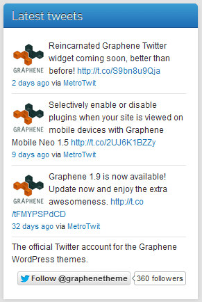Twiget Twitter Widget with profile picture and Bio in Graphene Theme