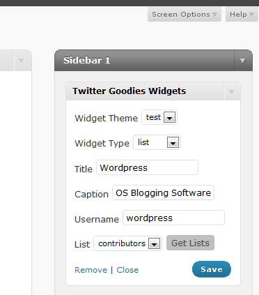 <p>When creating a twitter list widget, type in a twitter username and auomatically load their lists for you to choose from.</p>
