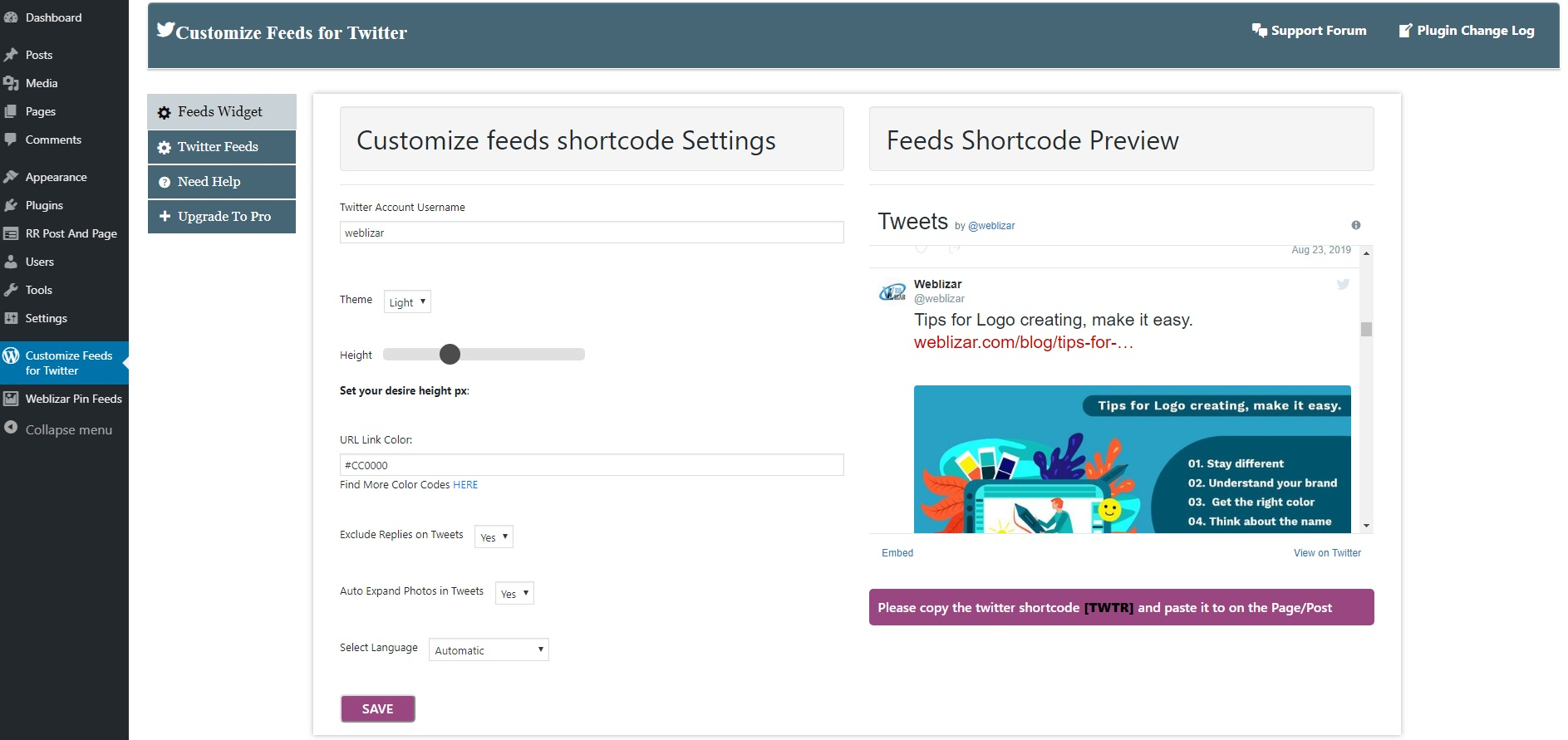 Twitter Tweets Feeds Widget Preview