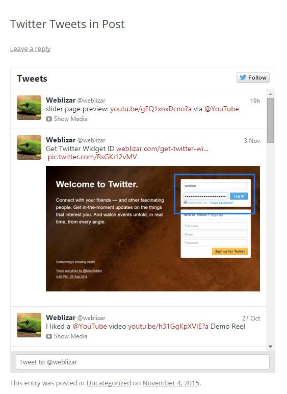 Twitter feeds(tweet) on the post