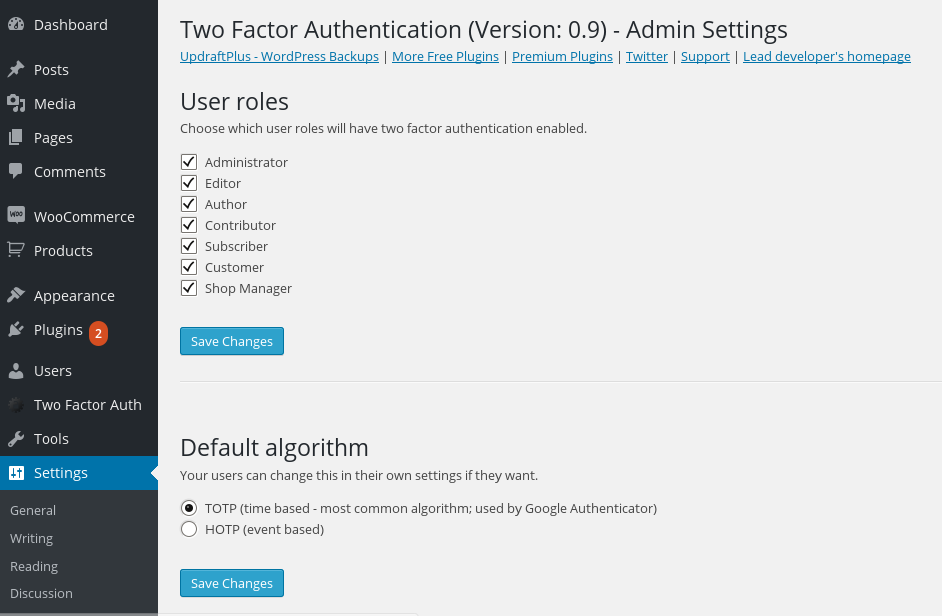 Two Factor Authentication Capture d'écran