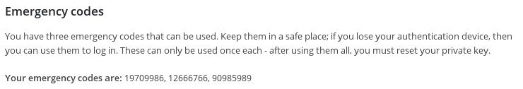 <p>Emergency codes (Premium version)</p>