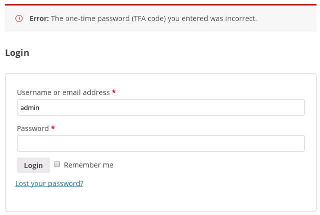 <p>What the user sees if opening a wrong OTP code on the WooCommerce login form</p>