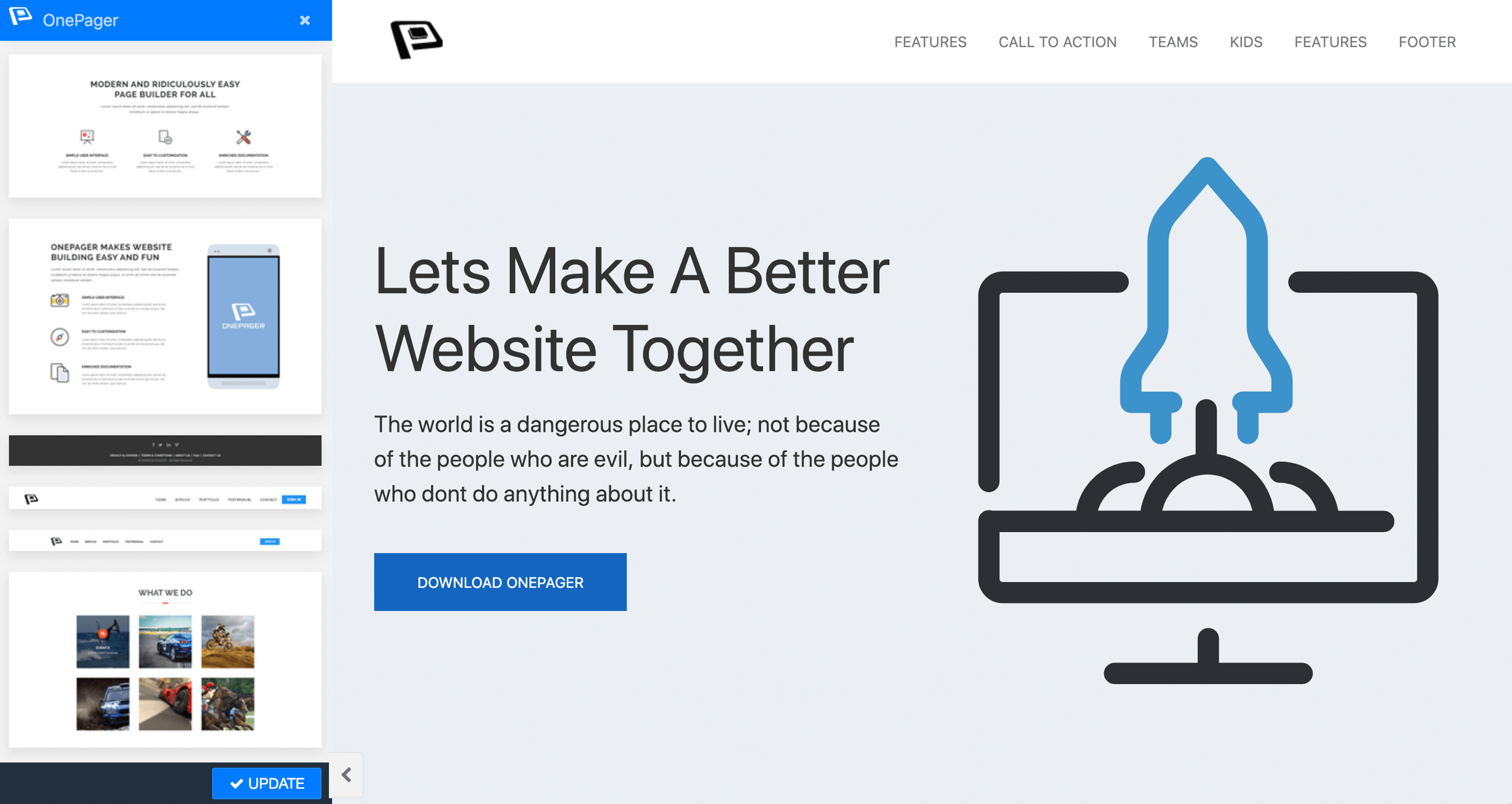 Enable Onepage from your page with presets
