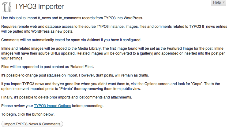 typo3-importer screenshot 1