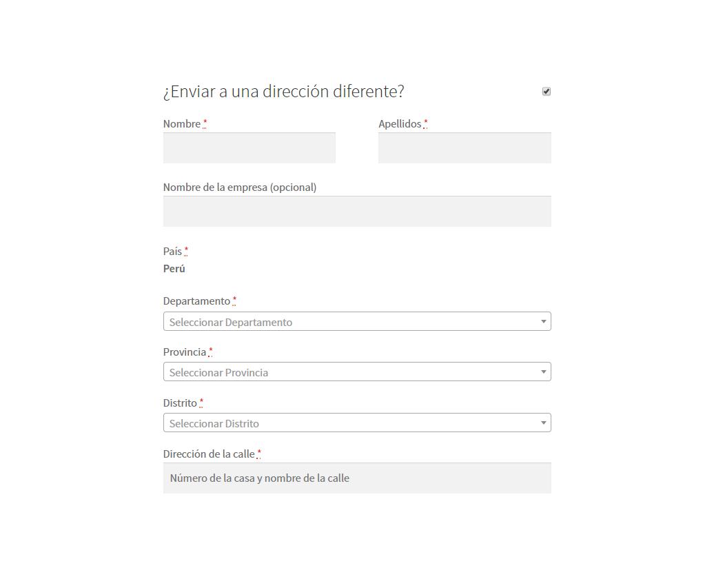 Envio a direccion diferente, tambien permite seleccionar el ubigeo.