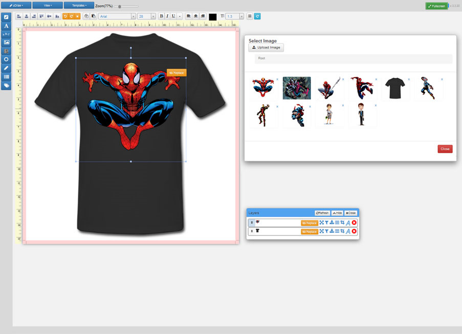 T-Shirt template while accessing custom clipart storage.