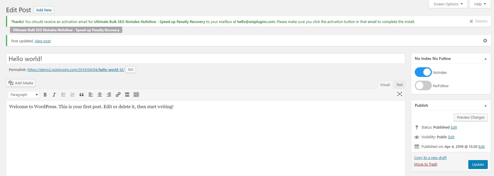 Individual post edit screen showing post now set to noindex, follow by individually updating post