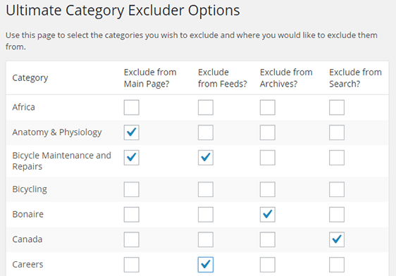 Check the categories you want to exclude.