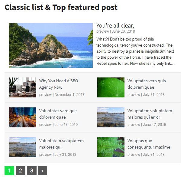 Classic list & Top featured posts