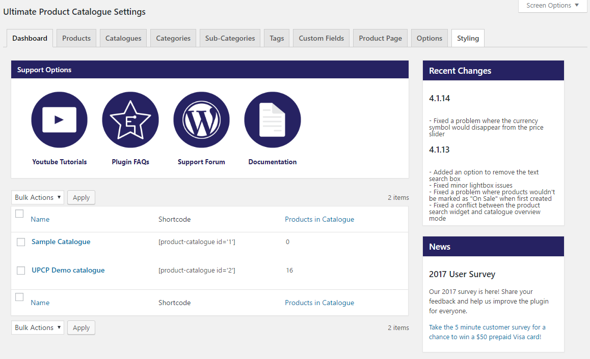 ... View of the WooCommerce product catalog integration options ...