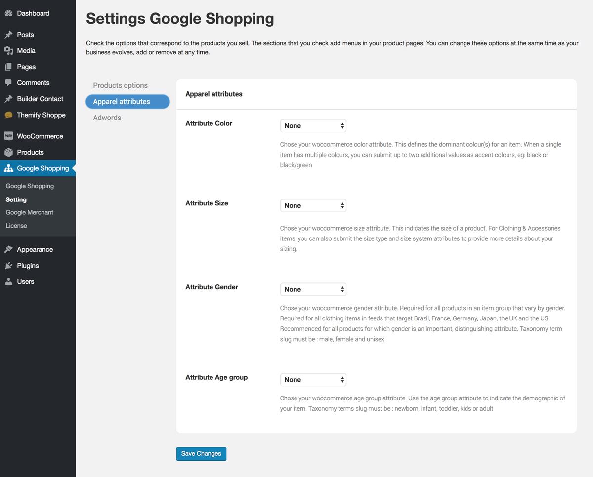 Google setting apparel attribute