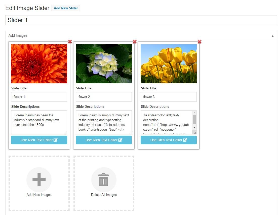 Add Slide Images Through Plugin Media uploader