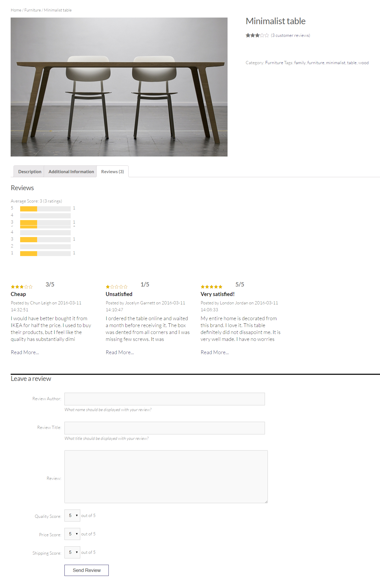 WooCommerce rating and review integration on the WooCommerce product page