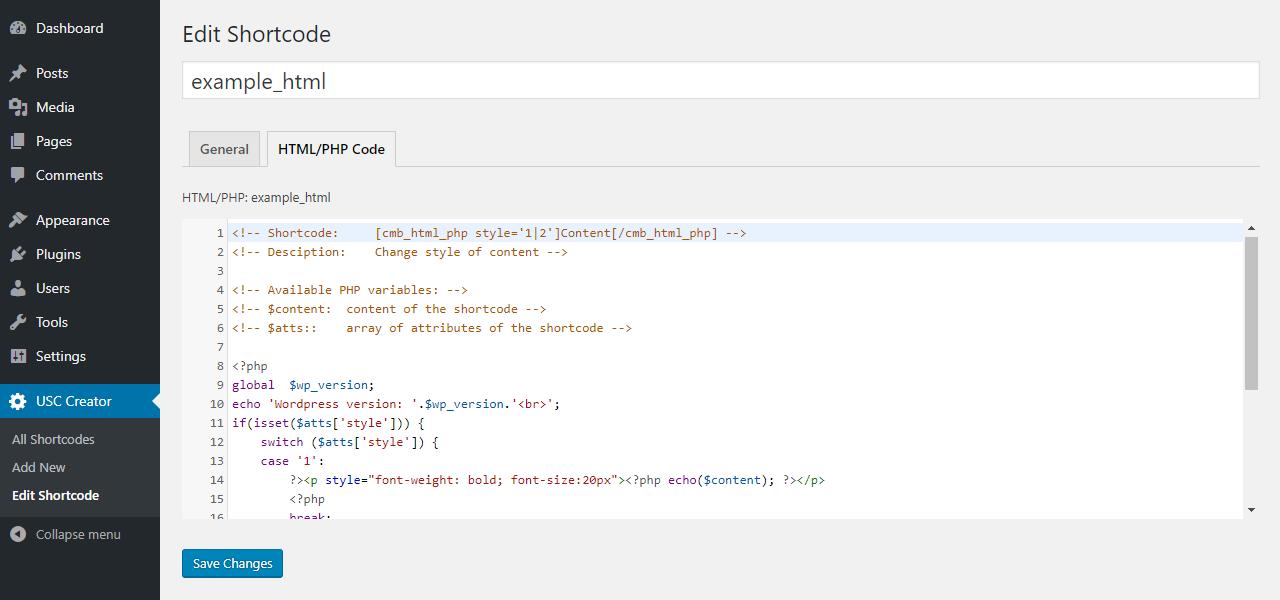 HTML/PHP edition tab.
